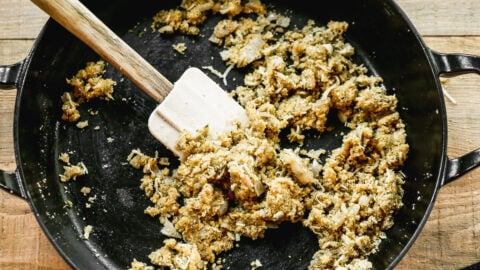 stuffing in a skillet for stuffed pork chops