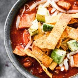 Chicken tortilla soup in a bowl