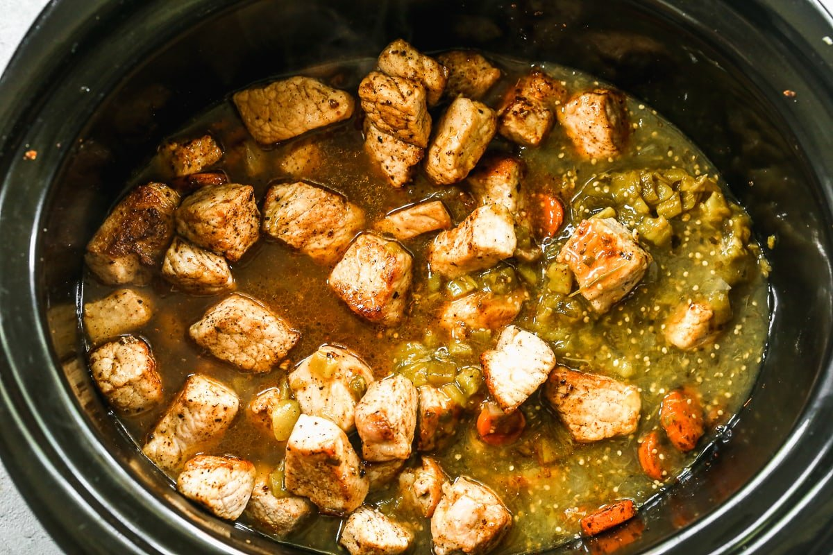 Pork in a slow cooker with salsa verde
