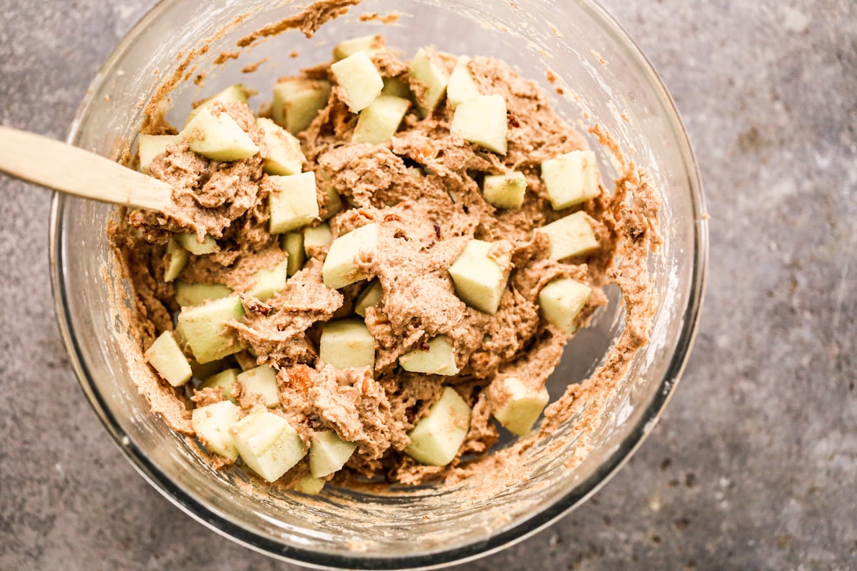 fresh apple chucks folded into apple bread batter