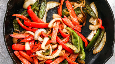 Vegetables in a cast iron skillet