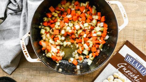 Cut vegetables in a pot