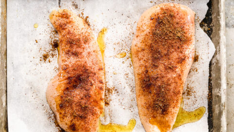 Two chicken breasts with spices
