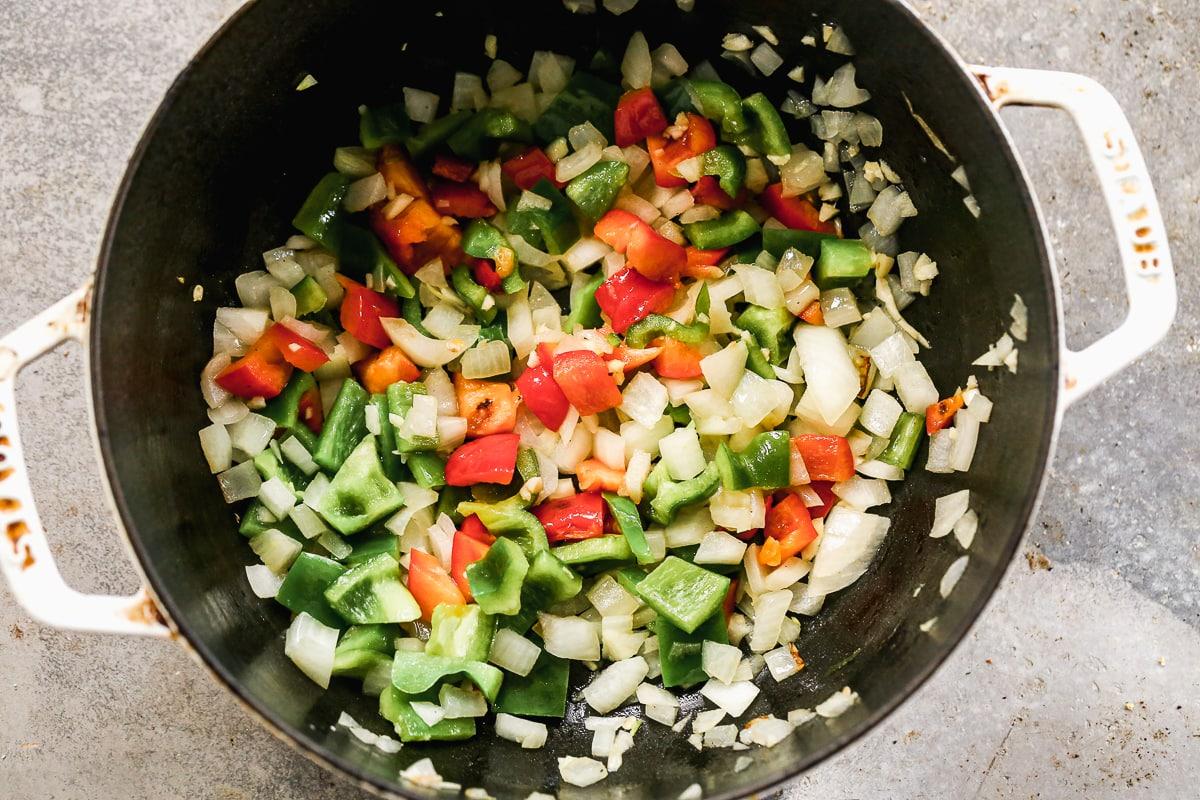 Cut veggies in a pot