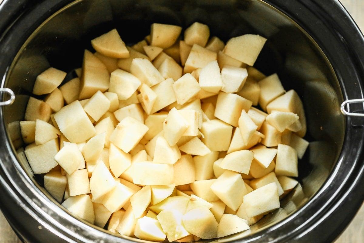 Chopped apples in a crock pot