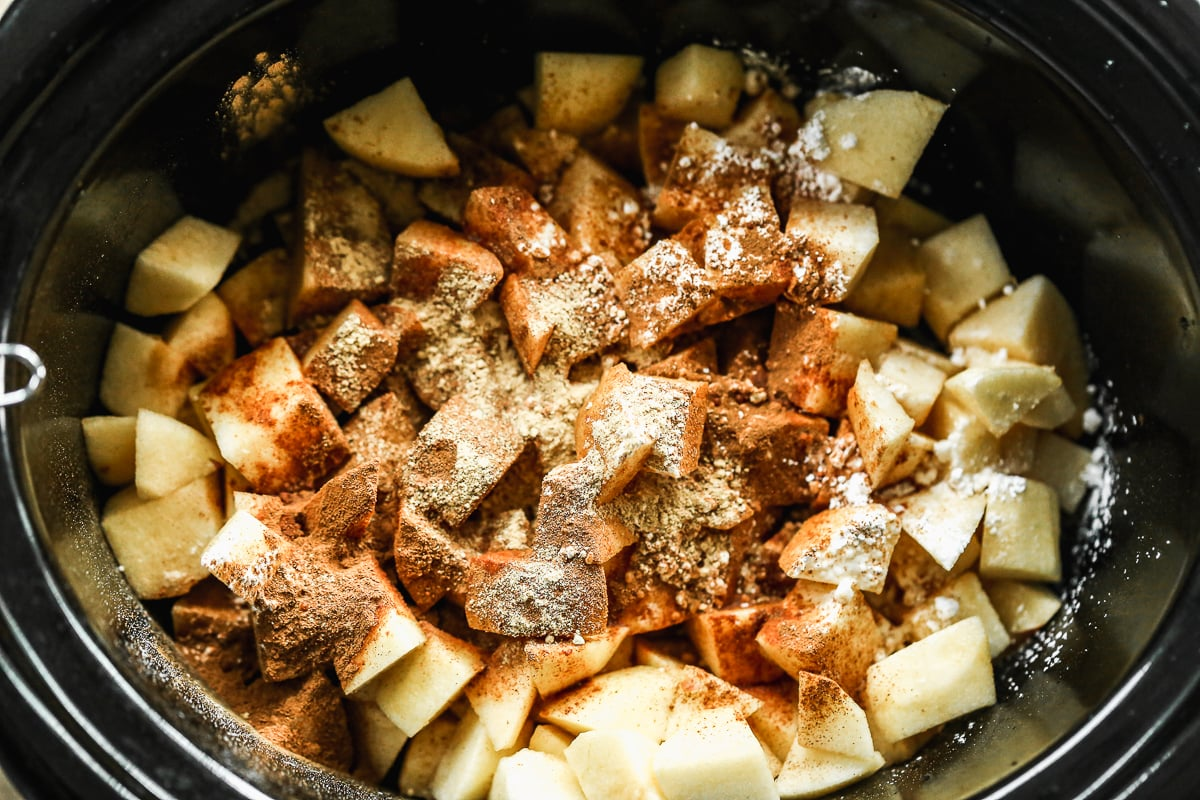 A dessert being made in a slow cooker