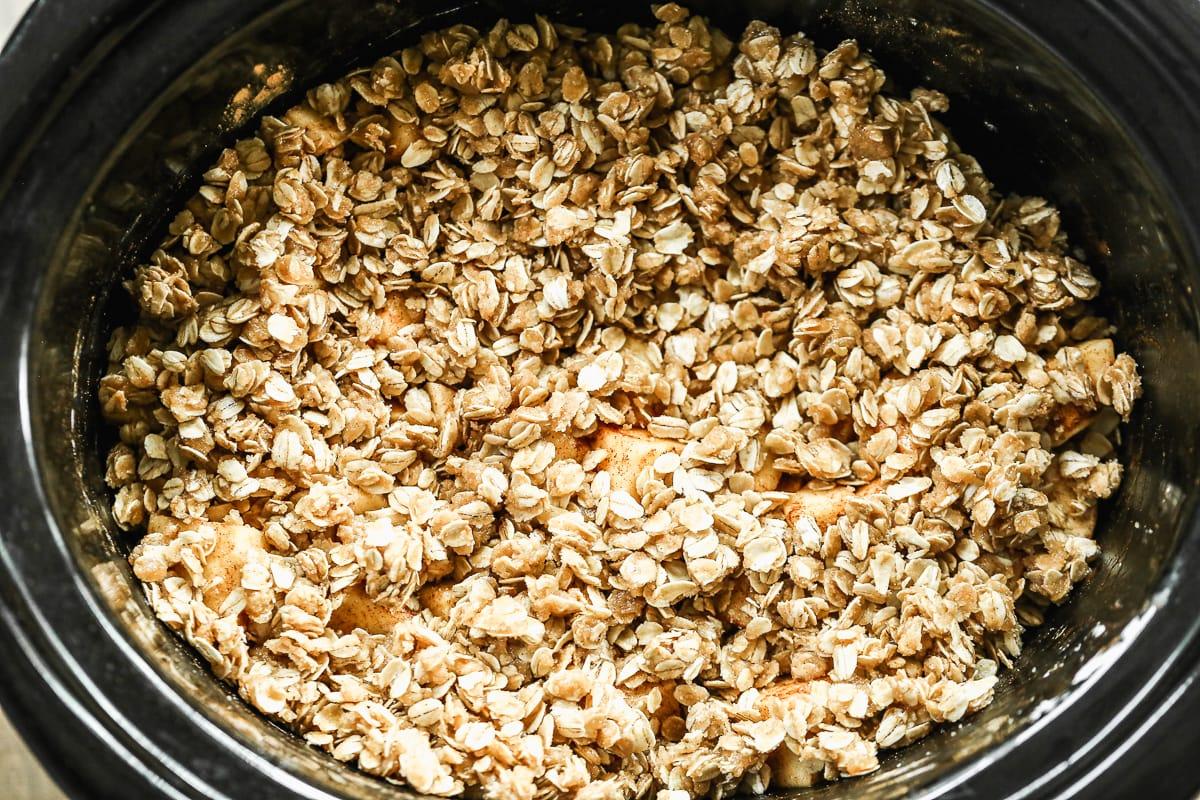 Crisp topping scattered over filling