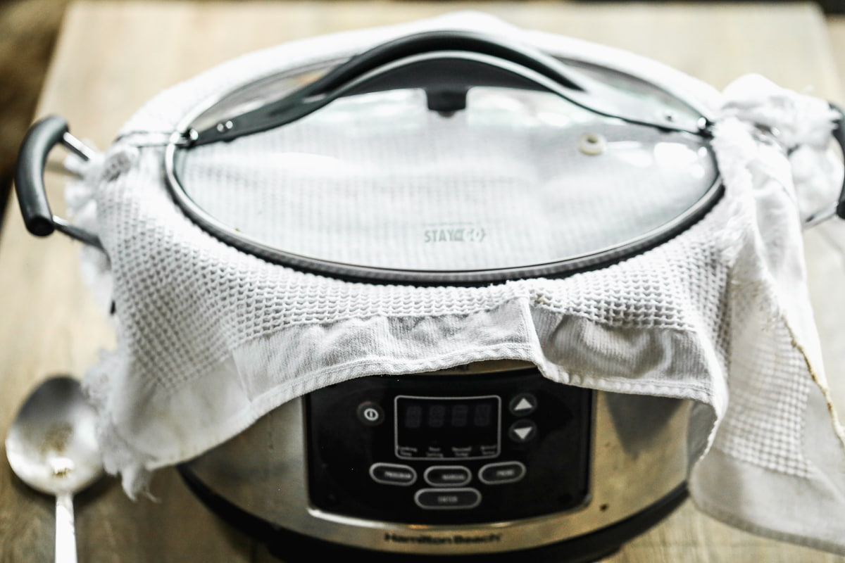 A towel over a slow cooker