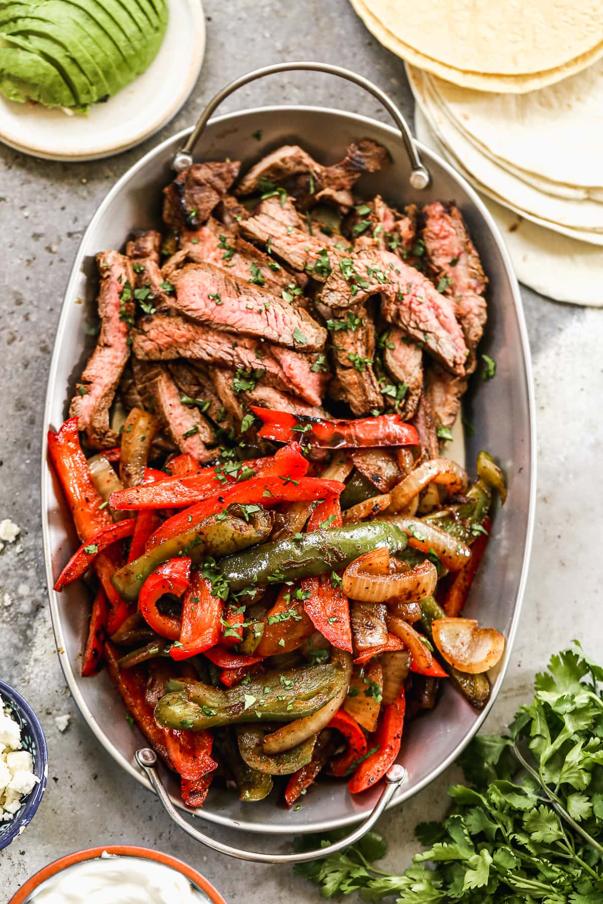 Beef fajitas with vegetables in a bowl
