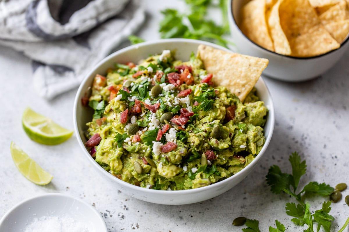 Delicious homemade guacamole in abowl