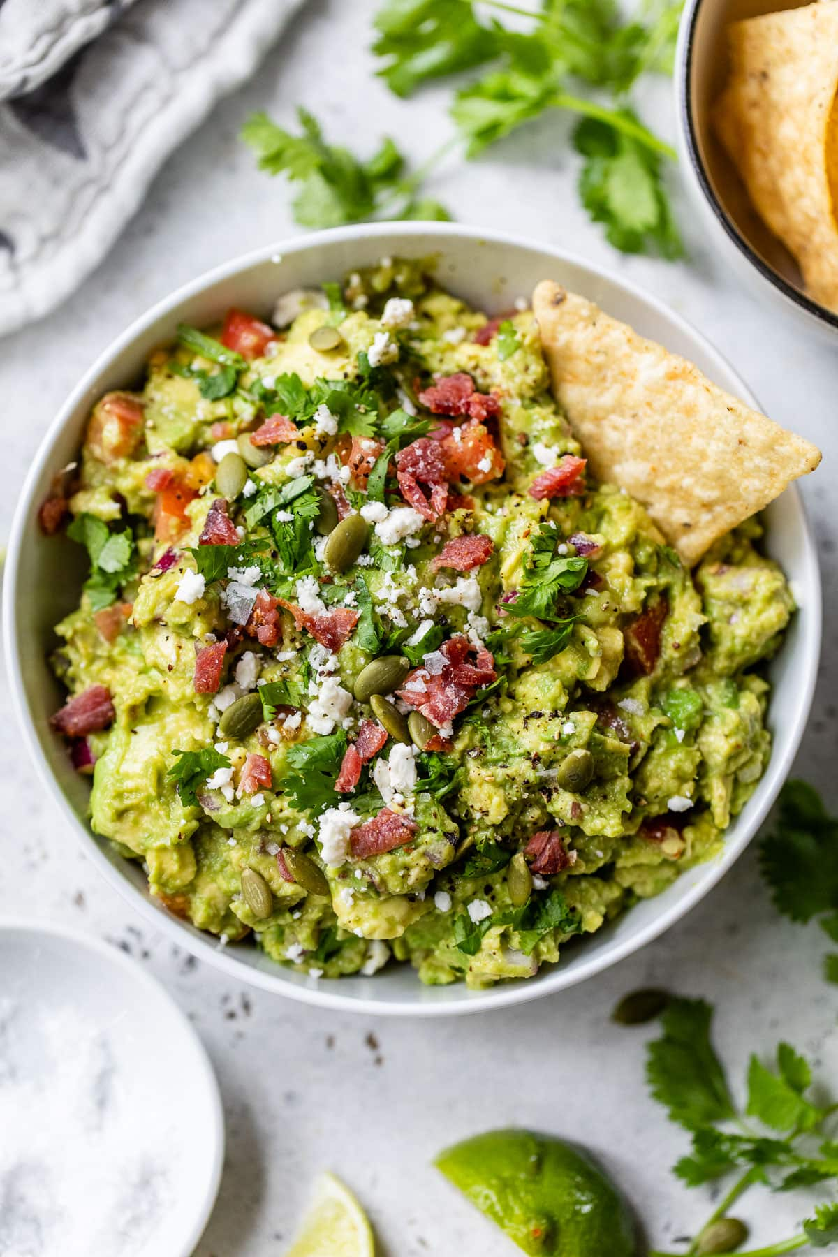 a white bowl with easy homemade guacamole