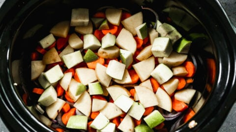 Cut vegetables in a slow cooker