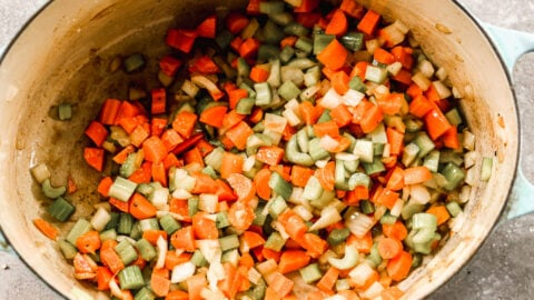 Cut vegetables in a Dutch oven