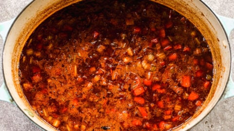 Sauce for red wine braised short ribs in a Dutch oven